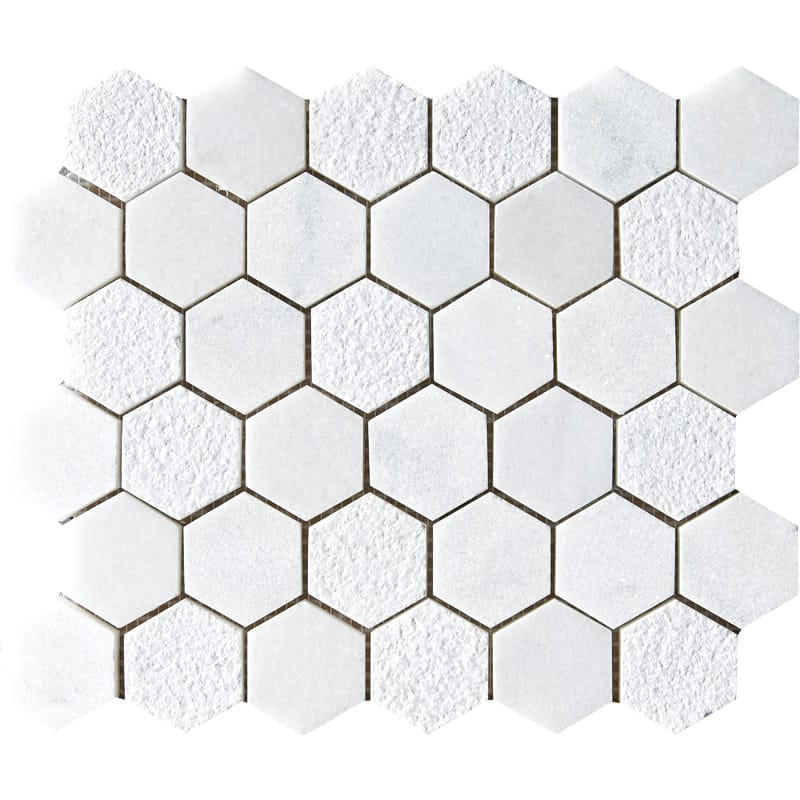 Glacier Textured 10 3/8x12 Hexagon Marble Mosaics