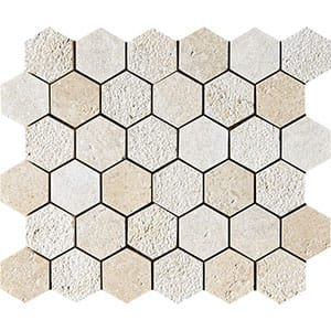 Seashell Textured Hexagon Limestone Mosaics 10 3/8x12