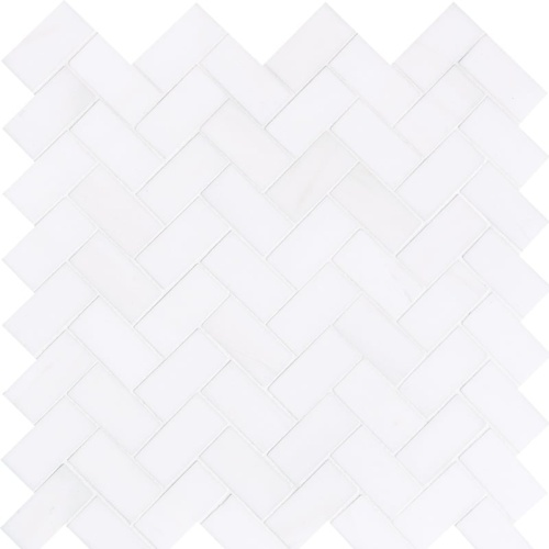 Snow White Honed Herringbone Marble Mosaics 12 1/8x13 3/8