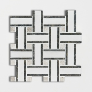 Aspen White Honed Lattice Marble Mosaics 12x12