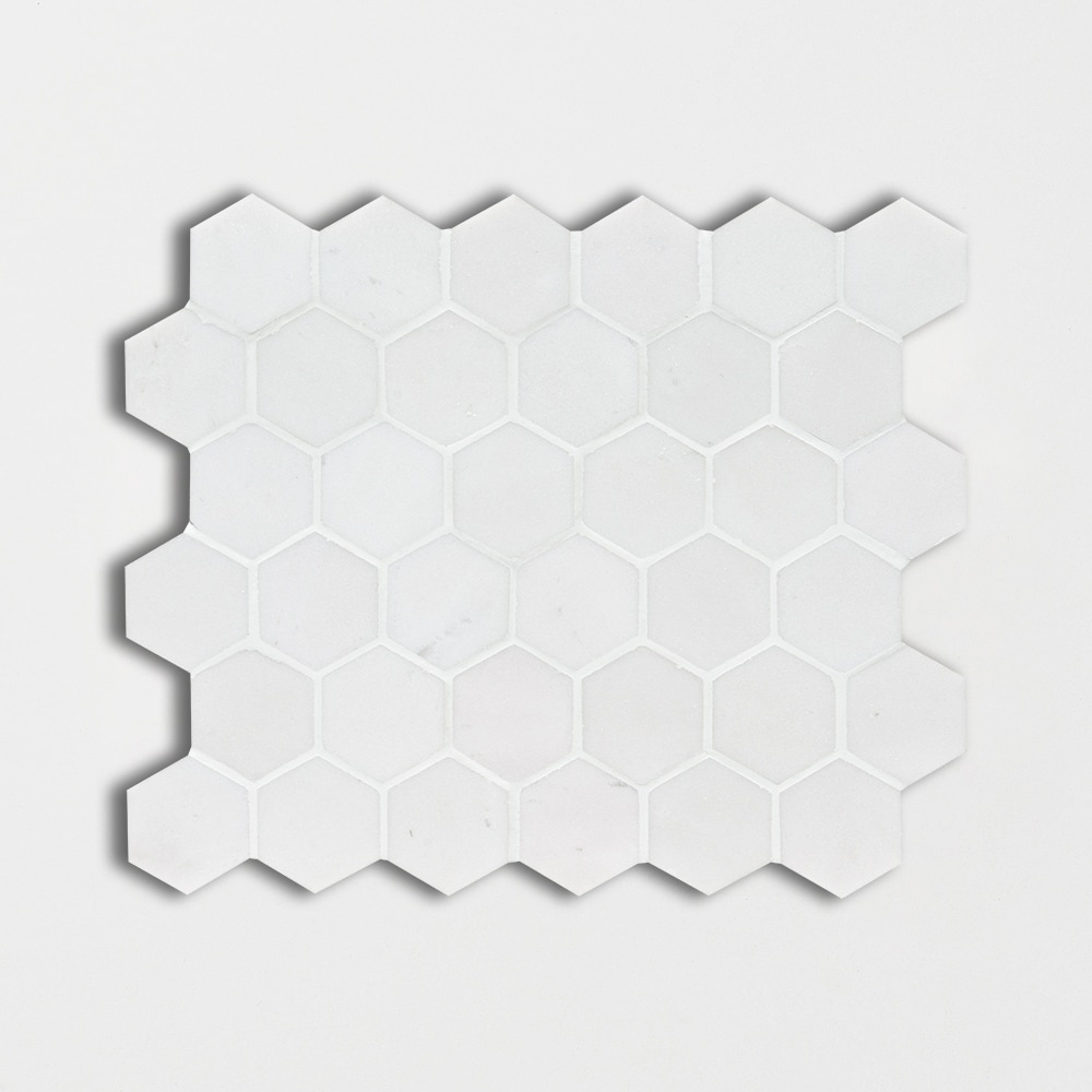 Aspen White Honed Hexagon Marble Mosaics 10 3/8×12