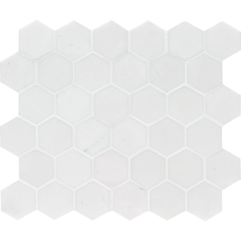 Aspen White Polished Hexagon Marble Mosaics 10 3/8×12