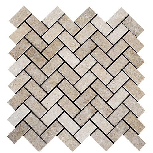Seashell Honed Herringbone Limestone Mosaics 12 1/8x13 3/8