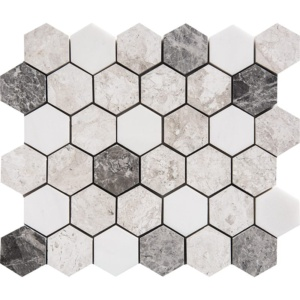 Granada Blend Polished Hexagon Marble Mosaics 10 3/8x12