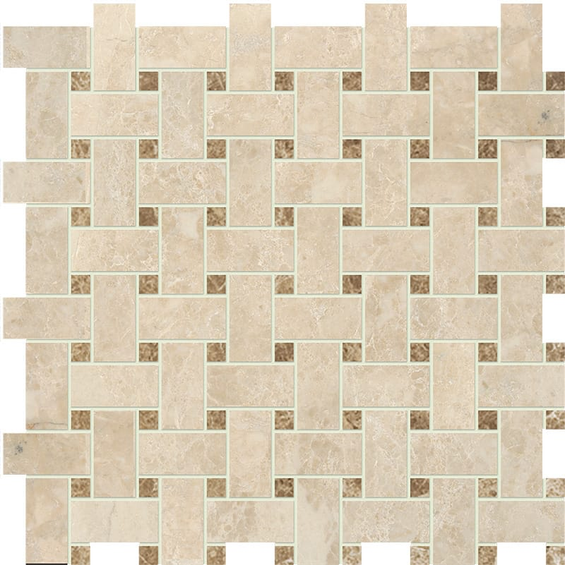 Cappuccino Polished Basket Weave Marble Mosaics 12×12