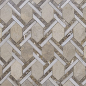 Britannia, Skyline, Silver Drop Multi Finish Braided Hexagon Limestone Mosaics 9 11/16x16 7/16