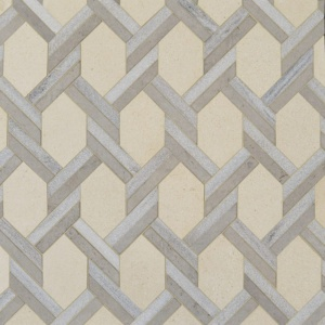 Champagne, Skyline, Britannia Multi Finish Braided Hexagon Marble Mosaics 9 11/16x16 7/16
