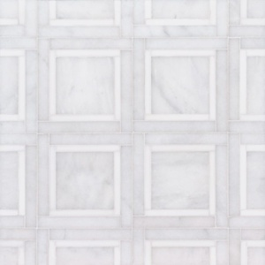 Snow White, Avalon Multi Finish Cambridge Marble Mosaics 12 7/8x12 7/8
