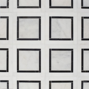 Glacier, Black, Snow White Multi Finish Cambridge Marble Mosaics 12 7/8x12 7/8