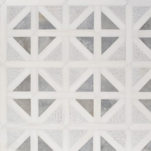 Snow White, Avenza Multi Finish Classic Lattice Marble Mosaics 14 3/4x14 3/4
