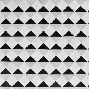 Glacier, Black, Snow White Multi Finish Devon Marble Mosaics 12 1/2x12 1/2