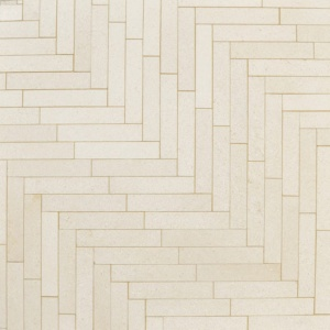 Champagne Honed Large Herringbone Marble Mosaics 12 7/8x8 9/16