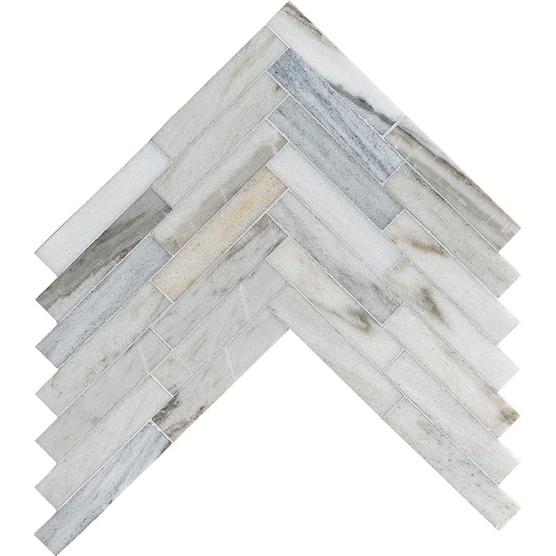 Skyline Honed Large Herringbone Marble Mosaics 12 7 8x8 9 16