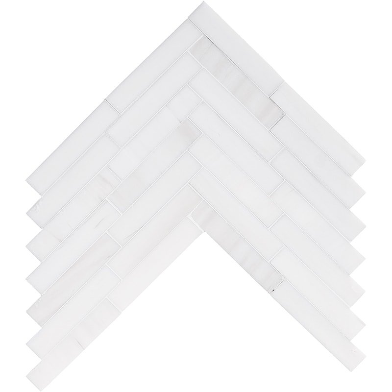Snow White Polished Large Herringbone Marble Mosaics 12 7/8×8 9/16
