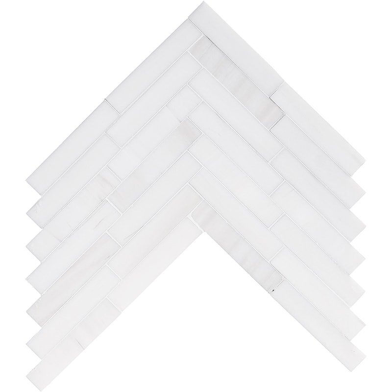 Snow White Honed Large Herringbone Marble Mosaics 12 7/8×8 9/16
