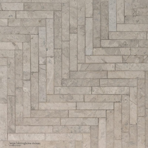 Britannia Honed Large Herringbone Marble Mosaics 12 7/8x8 9/16