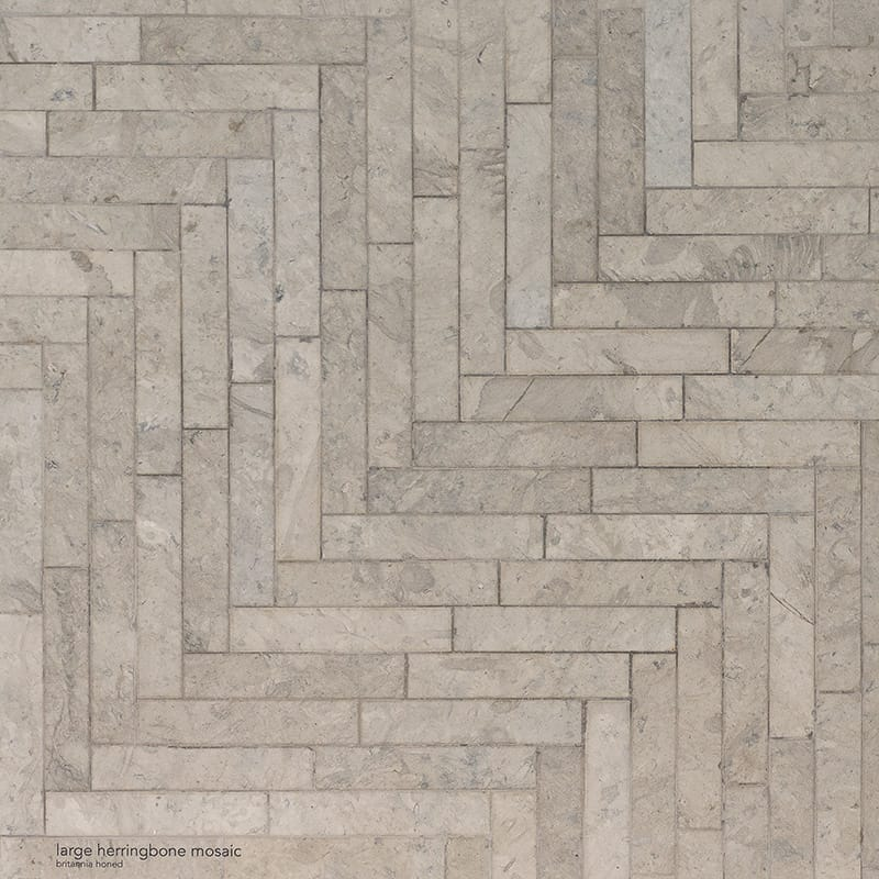 Britannia Honed Large Herringbone Limestone Mosaics 12 7/8×8 9/16