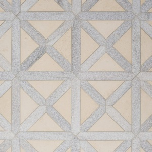 Champagne, Skyline Multi Finish Large Lattice Marble Mosaics 13 7/8x13 7/8