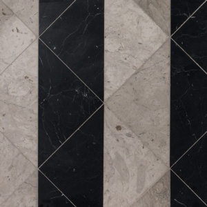 Britannia, Black Honed Mcm Square Marble Mosaics 8x8