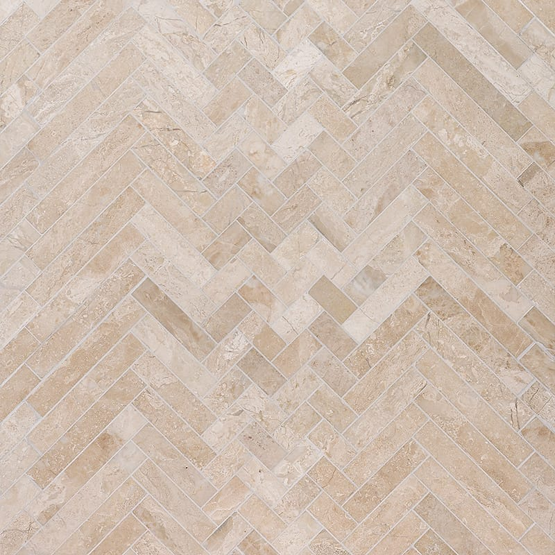 Diana Royal Honed Mixed Herringbone Marble Mosaics 16 5/6×12 1/16