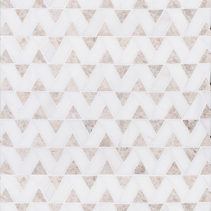 Silver Shadow, Snow White Honed Monte Marble Mosaics 12 3/8×12 3/8
