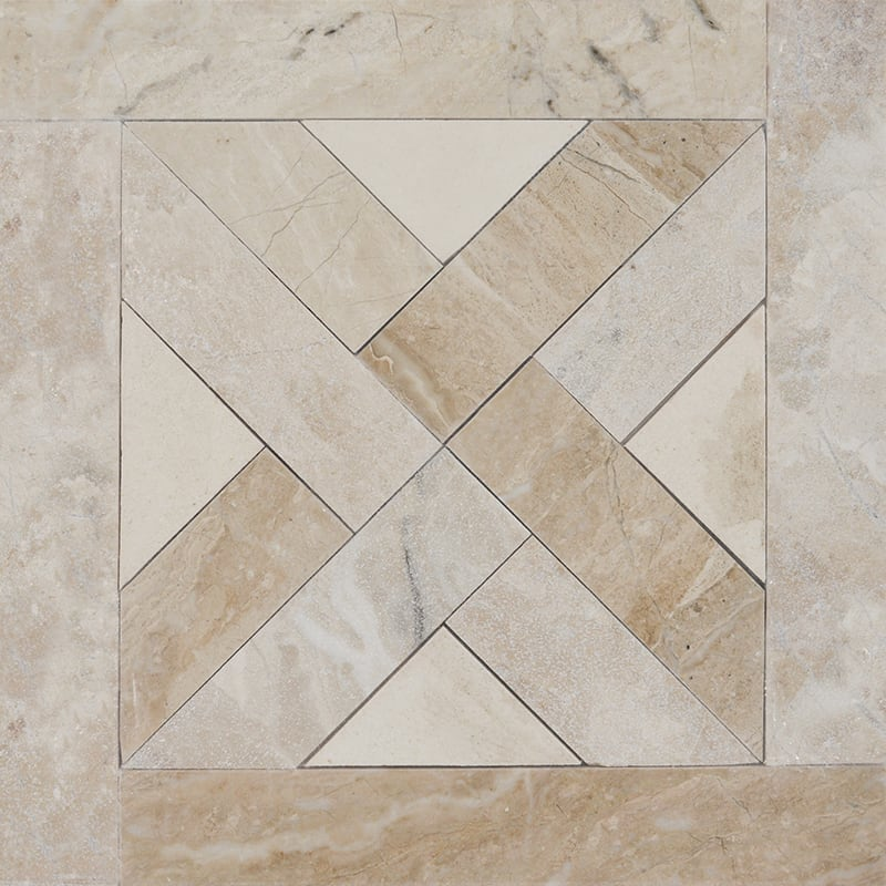 Diana Royal, Champagne Multi Finish Parquet Blend Marble Mosaics 13 3/4×13 3/4