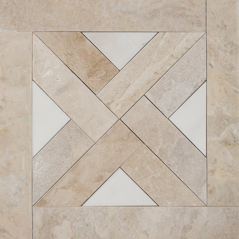 Diana Royal, Snow White Multi Finish Parquet Blend Marble Mosaics 13 3/4×13 3/4