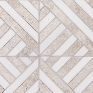 Silver Shadow, Snow White Honed Ponte Marble Mosaics 14 5/16x14 5/16