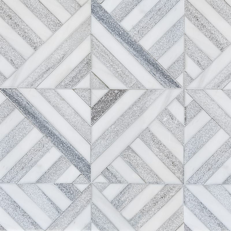 Snow White, Skyline Multi Finish Ponte Marble Mosaics 14 5/16×14 5/16