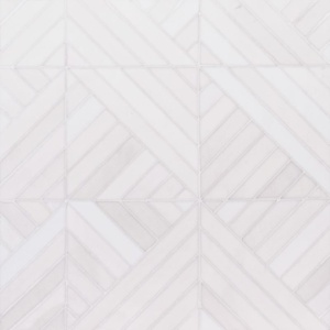 Snow White Multi Finish Ponte Marble Mosaics 14 5/16x14 5/16