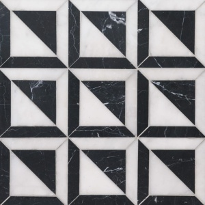 Black, Glacier Honed York Marble Mosaics 11 15/16x11 15/16
