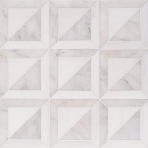 Snow White, Avalon Multi Finish York Marble Mosaics 11 15/16x11 15/16