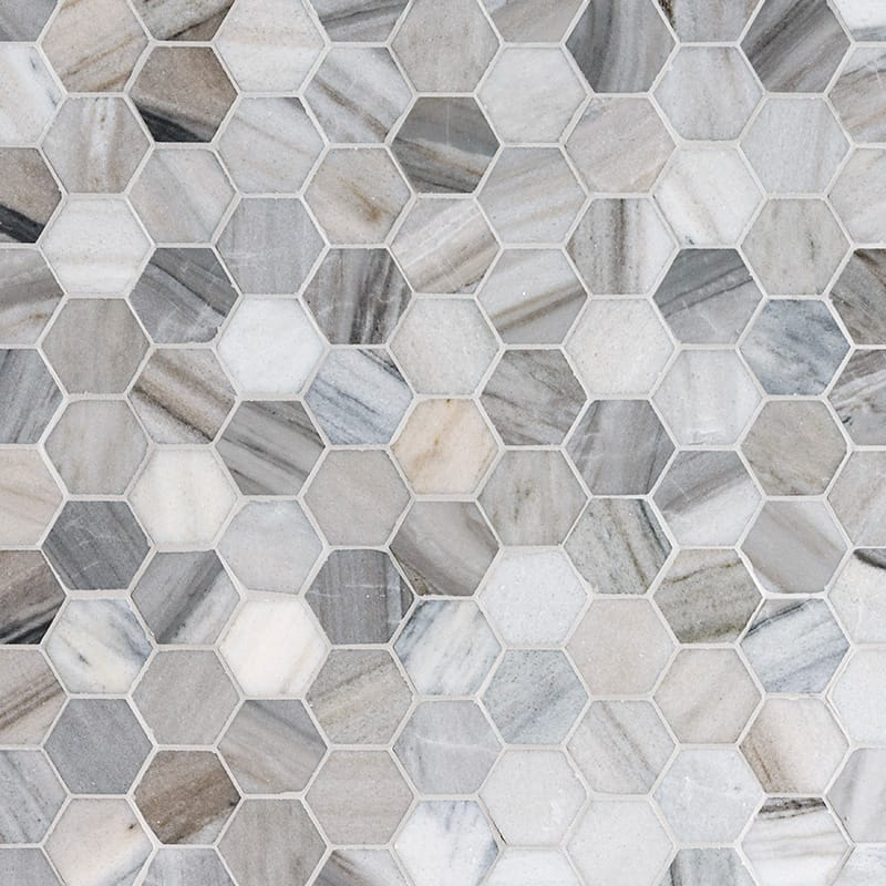 Skyline Polished Hexagon Marble Mosaics 10 3/8×12