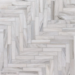 Skyline Polished Large Herringbone Marble Mosaics 12 7/8x8 9/16