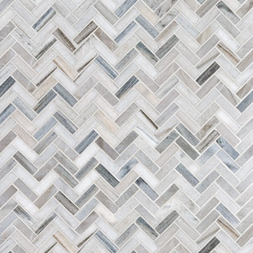 Skyline Honed Herringbone Marble Mosaics 12 1/8x13 3/8