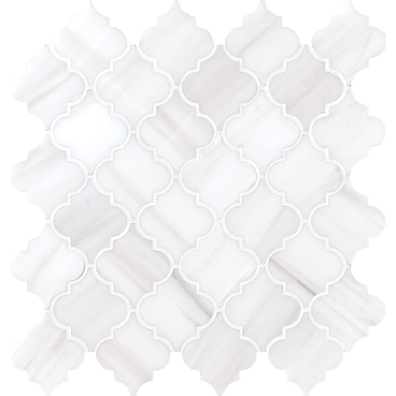 Snow White Polished Meshed Arabesque Marble Mosaics 12×12