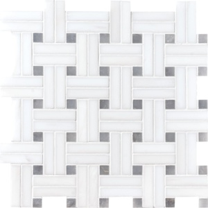 Snow White Honed Diagonal Basket Weave Marble Mosaics 12x12