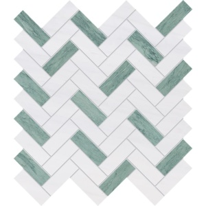 Verde Capri, Snow White Honed Herringbone Marble Mosaics 12 1/8x13 3/8