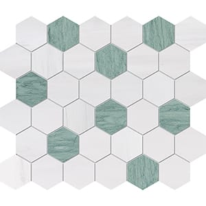 Verde Capri, Snow White Honed Hexagon Marble Mosaics 10 3/8x12