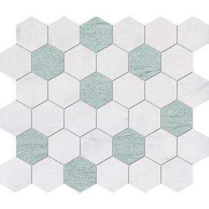 Verde Capri, Avalon Leather Hexagon Marble Mosaics 10 3/8x12