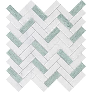 Verde Capri, Avalon Leather Herringbone Marble Mosaics 12 1/8x13 3/8
