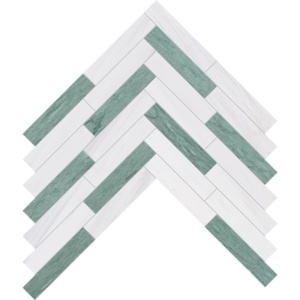 Verde Capri, Snow White Honed Large Herringbone Marble Mosaics 12 7/8x8 9/16