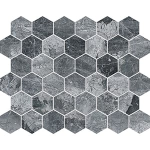 Charcoal Polished Hexagon Marble Mosaics 10 3/8x12
