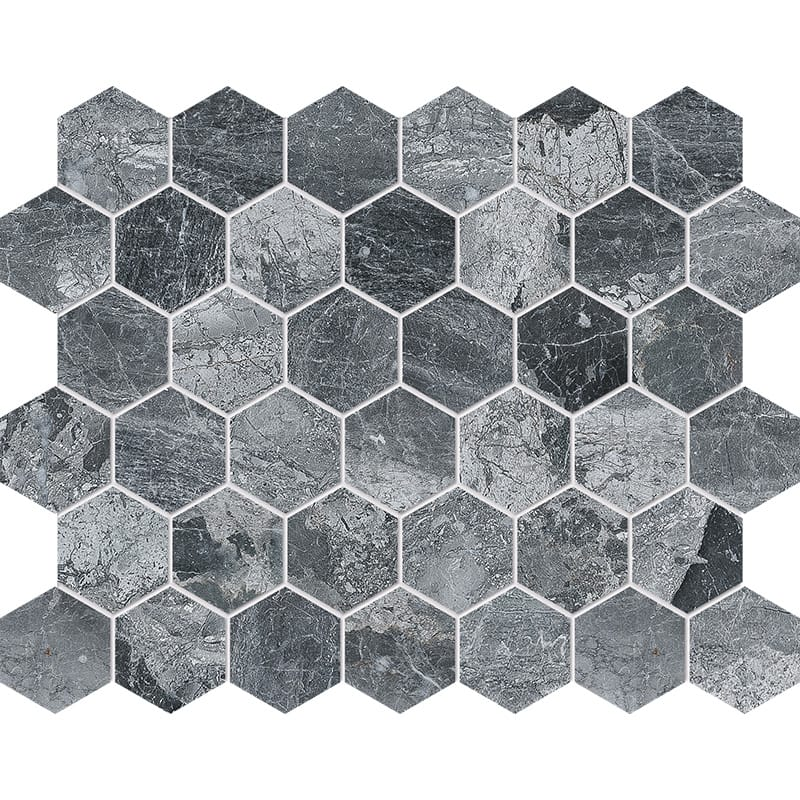 Charcoal Polished Hexagon Marble Mosaics 10 3/8×12