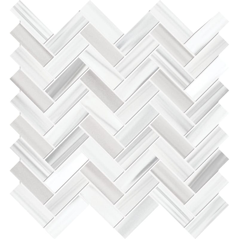 Frost White Honed Marble Mosaics 12 1/8×13 3/8
