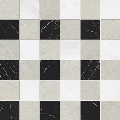 Britannia Light, Snow White, Black Honed 2x2 Marble Mosaics 12x12