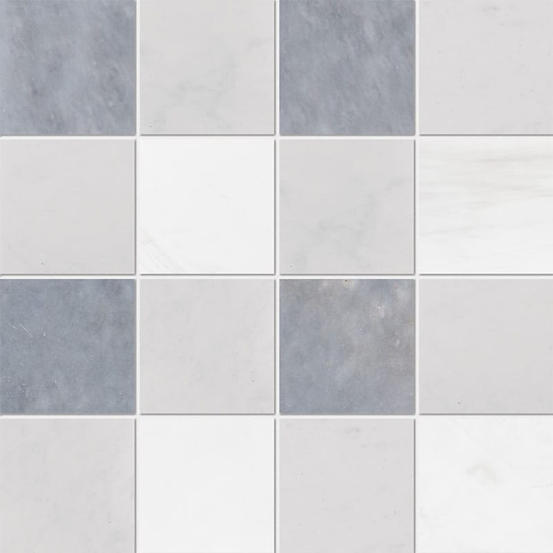 Allure Light, Snow White, Glacier Honed 4×4 Marble Mosaics 16×16