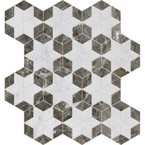 Avalon, Silver Drop Polished Stars Marble Mosaics 14 3/16x14 15/16