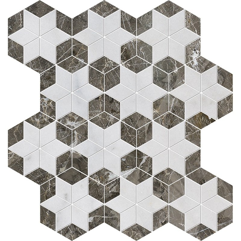 Avalon, Silver Drop Polished Stars Marble Mosaics 14 3/16×14 15/16