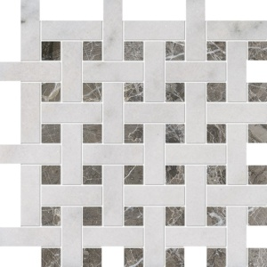 Avalon, Silver Drop Polished Basket Weave 1x3 Marble Mosaics 12 5/8x12 5/8